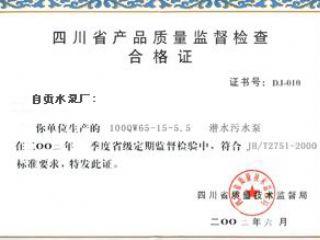 产品质量监督检查合格证(2004)